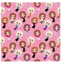 seamless girls pattern vector image vector image