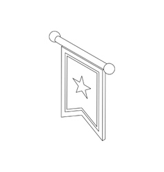 Flag medieval banner icon isometric 3d vector image