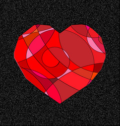 Gray and red heart vector