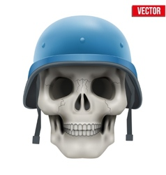 Human skull with Military United Nations helmet vector image vector image