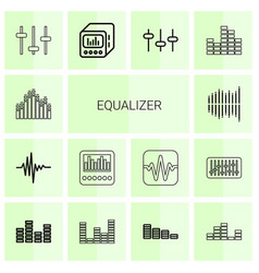 14 equalizer icons vector