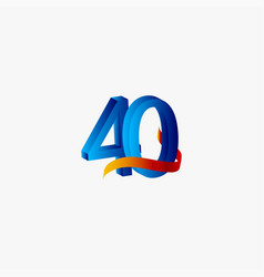 40 years anniversary celebration number blue vector