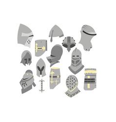 A set of knight helmets vector