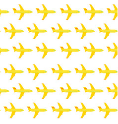 airplane seamless pattern yellow elements on a vector image