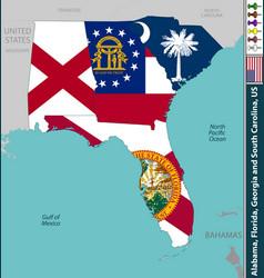 Alabama florida georgia and south carolina vector