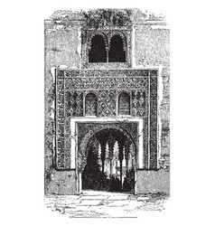 Alhambra the red fortress vintage engraving vector