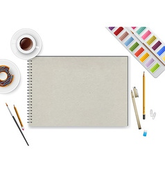 Art workspace with notebook and coffee vector image