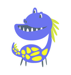 Blue and yellow funny dinosaur prehistoric animal vector