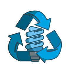 Blue energy bulb inside of recycling symbol vector
