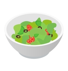 Bowl of salad isometric 3d icon vector