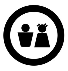 boy and girl black icon in circle vector image