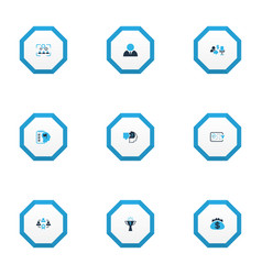 Business management icons colored set with problem vector