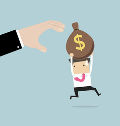 businessman runs away boss hands to steal money vector image