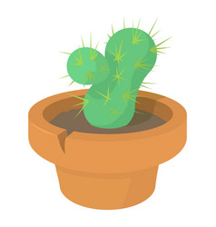 Cactus icon cartoon style vector