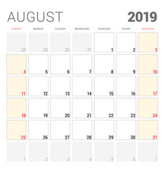 calendar planner for august 2019 week starts on vector image