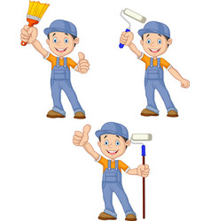 cartoon painters with equipment brush collection s vector image