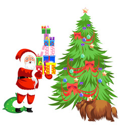 cartoon santa claus putting presents under vector image