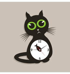 cat clock vector image
