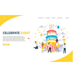 Celebrate event website landing page design vector