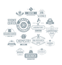 chemical science logo icons set simple style vector image