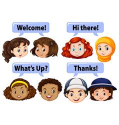 Children saying polite words vector