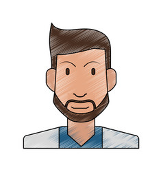 Color pencil half body man bearded vector