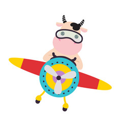 Cute cow animal with goggles flying on airplane vector