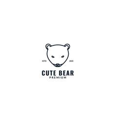 Cute honey bear or polar bear head line animal vector