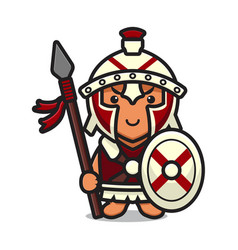 Cute roman knight mascot character holding spear vector
