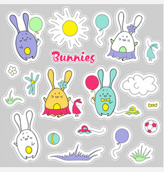 cute stickers of rabbits baby design vector image