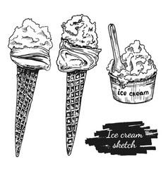 drawing ice cream set vector image