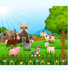 Farm background with happy animals vector