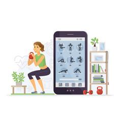 fitness app - modern cartoon character vector image