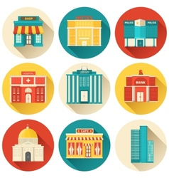 Flat colorful sity buildings set icon background vector