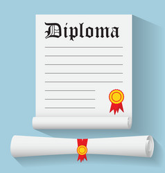 flat design modern degree scroll with red vector image