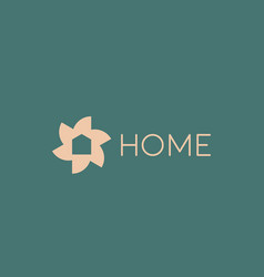 flower home logo design template gold icon vector image