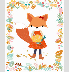 Fox girl in pastel flower and leave frame border vector