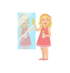 Girl Cleaning The Mirror vector