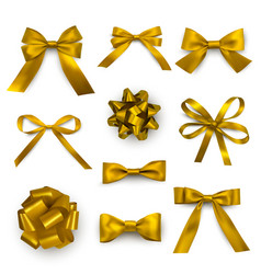 gold bows with two four or more loops in vector image