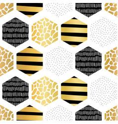 golden hexagon seamless pattern abstract vector image