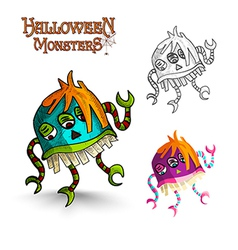 Halloween monsters scary cartoon freak EPS10 file vector image