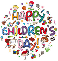happy children day logo vector image