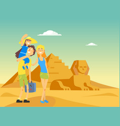 Happy family traveling and sightseeing in egypt vector