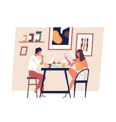 Happy young couple eating meal together in vector