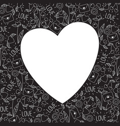 Heart frame made of doodle valentine elements vector