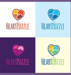 Heart puzzle balloon logo and icon vector