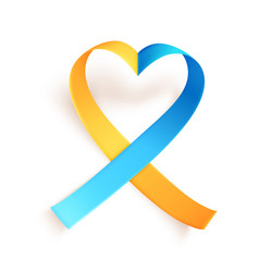 Heart shaped blue yellow ribbon over white vector