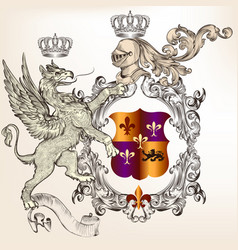 heraldic design with griffin knight and coat arms vector image