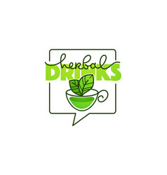 herbal drinks line art logo with hand drawn vector image