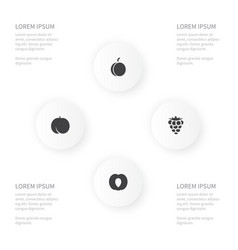 icon healthy set of amygdalaceous bramble almond vector image